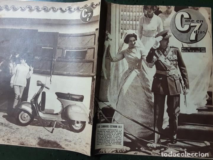REVISTA CINE EN 7 DIAS, N⁰ 57 MAYO 1962 BODA EN ATENAS JUAN CARLOS Y SOFIA, GRETA GARBO (Cine - Revistas - Cine en 7 dias)