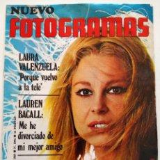 Cine: REVISTA FOTOGRAMAS Nº 1096 LAURA VALENZUELA LAUREN BACALL SALOMÉ RAPHAEL RAVI SHANKAR PAOLA PITAGORA. Lote 226636530