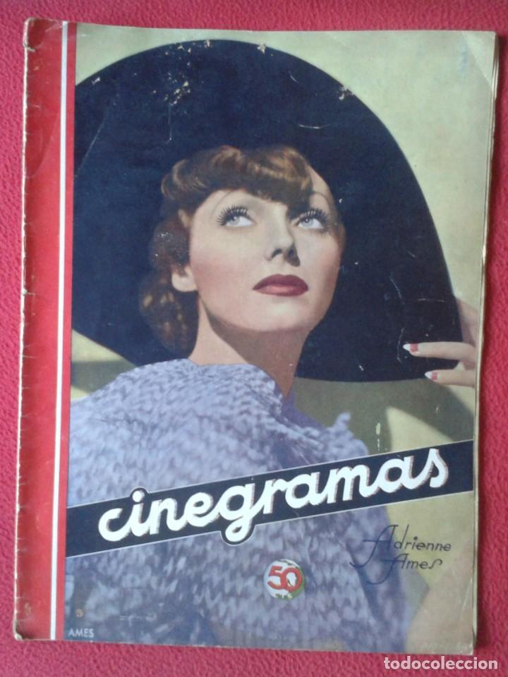 REVISTA CINEGRAMAS NÚM. 42 30 JUNIO DE 1935 ADRIENNE AMES GINGER ROGERS CARLOS GARDEL MIRNA LOY..ETC (Cine - Revistas - Cinegramas)