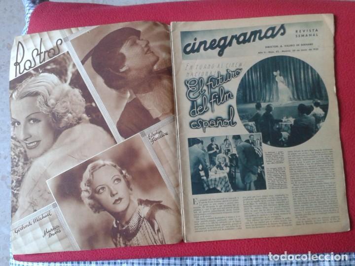 Cine: REVISTA CINEGRAMAS NÚM. 42 30 JUNIO DE 1935 ADRIENNE AMES GINGER ROGERS CARLOS GARDEL MIRNA LOY..ETC - Foto 3 - 228007340