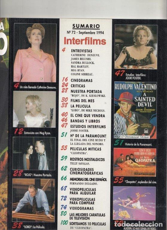 Cine: REVISTA INTERFILMS Nº 72 AÑO 1994 JODIE FOSTER. IRÉNE JACOB RAPSODIA EN ROJO. SANDRA BULLOCK. - Foto 2 - 229150155