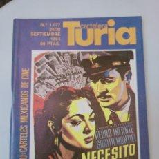 Cinema: CARTELERA TURIA N° 1077. VALENCIA, 1984. RENAU: CARTELES MEXICANOS DE CINE. Lote 231156755