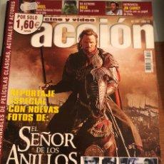 Cinema: ACCIÓN CINE Y VÍDEO. NÚM 134. AÑO 12. RESERVADO.EL SEÑOR DE LOS ANILLOS (POSTERS INCLUIDOS). Lote 231387620