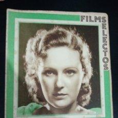 Cinema: REVISTA FILMS SELECTOS 1933, DOROTHY JORDAN, CLAUDETTE COLBERT, JANET GAYNOR, BARBARA STANWICK. Lote 232859585