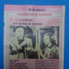 Cine: RECORTE FICHA TECNICA SUEÑOS DE JUVENTUD. Lote 236024760