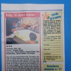 Cine: RECORTE FICHA TECNICA BABY , TU VALES MUCHO. Lote 236027720