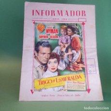 Cine: GUIA CINE REVISTA EL INFORMADOR AÑO 1954 CON PROSPECTO PEGADO EN LA PORTADA - TRIGO Y ESMERALDA. Lote 236099870
