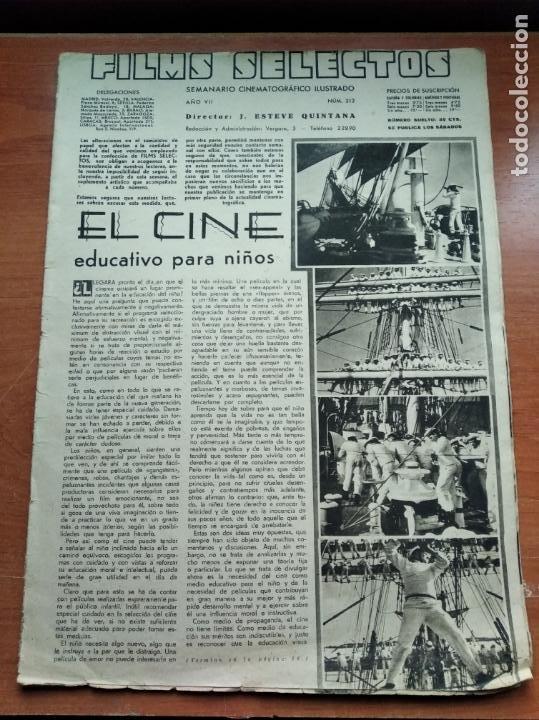 FILMS SELECTOS - Nº312 -AÑO VII-EDITADA EN LOS AÑOS 30-TALLERES GRAFICOS S.G.(EMPRESA COLECTIVIZADA) (Cine - Revistas - Films selectos)