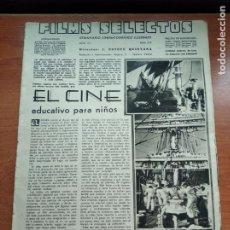 Cine: FILMS SELECTOS - Nº312 -AÑO VII-EDITADA EN LOS AÑOS 30-TALLERES GRAFICOS S.G.(EMPRESA COLECTIVIZADA). Lote 236332495