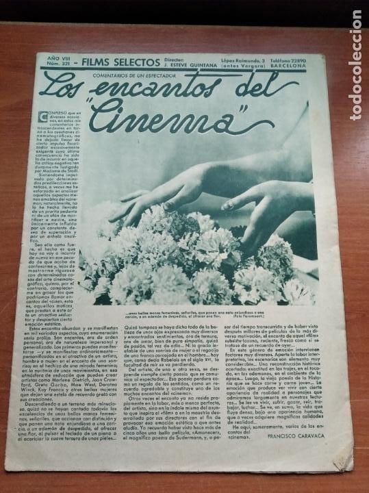 FILMS SELECTOS - Nº321 - AÑO VIII - REVISTA EDITADA EN LOS AÑOS 30 (Cine - Revistas - Films selectos)