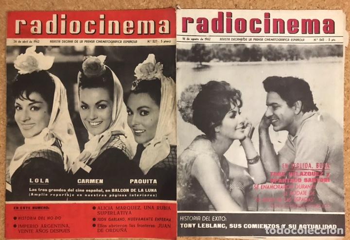 LOTE 2 REVISTAS RADIOCINEMA 1962 DECANA CINEMATOGRAFICA LEBLANC LOLA PAQUITA SPARTACO LUNA - 527 543 (Cine - Revistas - Radiocinema)