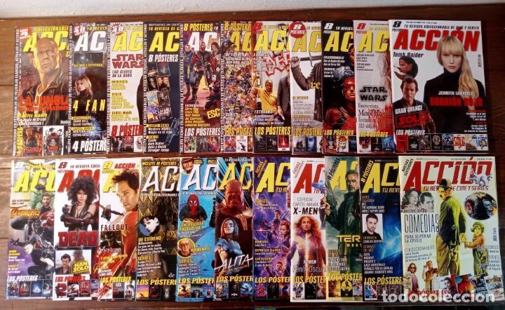 LOTE 22 NUMEROS REVISTA 'ACCION' - NUEVAS (INCLUYE POSTERS, FICHAS COLECCIONABLES...) (Cine - Revistas - Acción)