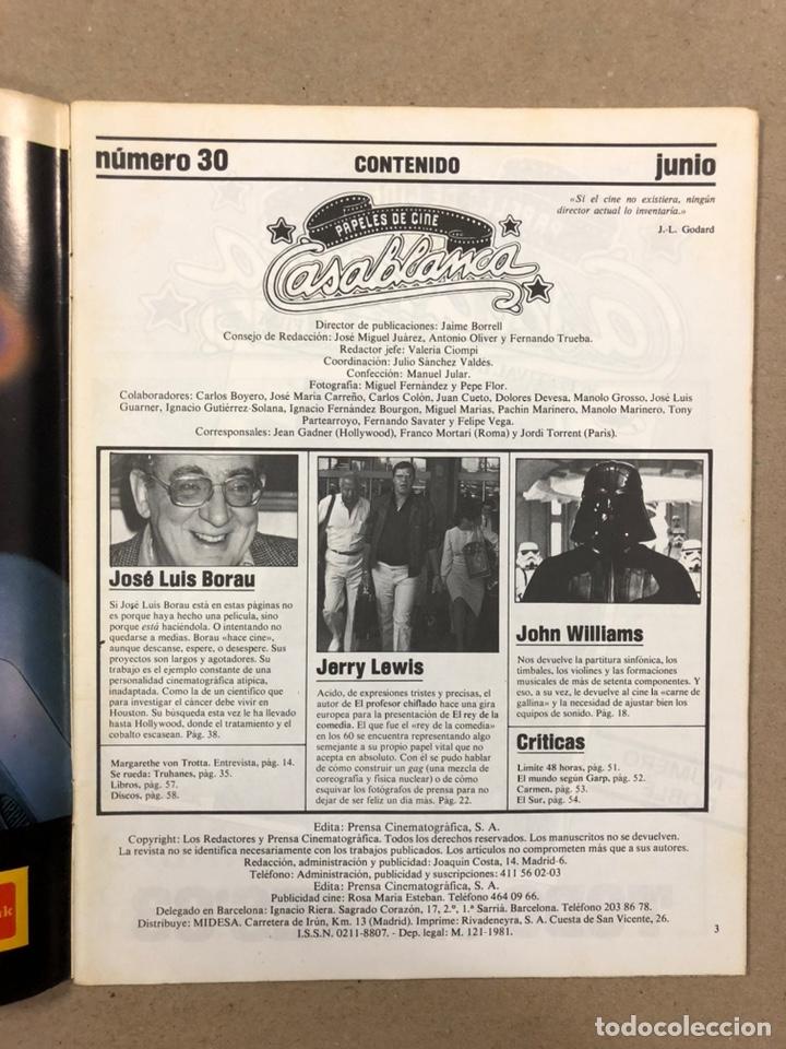 Cine: PAPELES DE CINE CASABLANCA N° 30 (1983). JERRY LEWIS, J.L. BORAU, JOHN WILLIAMS, VON TROTTA,... - Foto 2 - 240495180