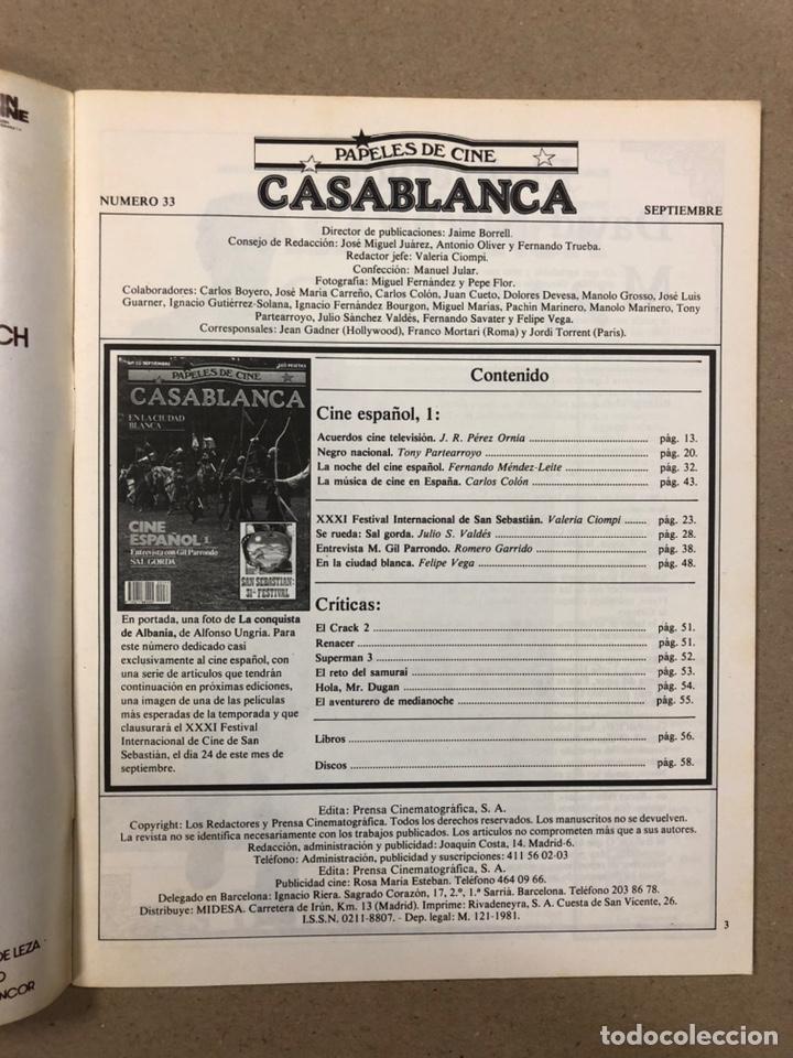 Cine: PAPELES DE CINE CASABLANCA N° 33 (1983). 31º FESTIVAL DE SAN SEBASTIÁN, GIL PARRONDO, CINE ESPAÑOL - Foto 2 - 240496715