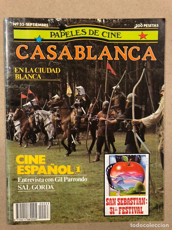 PAPELES DE CINE CASABLANCA N° 33 (1983). 31º FESTIVAL DE SAN SEBASTIÁN, GIL PARRONDO, CINE ESPAÑOL (Cine - Revistas - Papeles de cine)