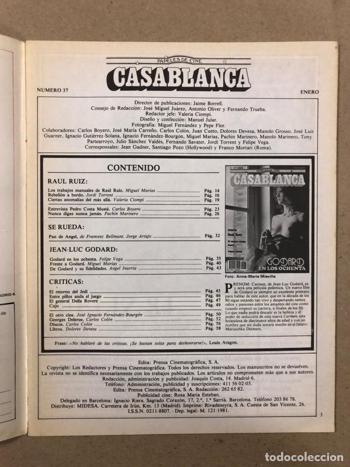 Cine: PAPELES DE CINE CASABLANCA N° 37 (1984). JEAN LUC GODARD, RAÜL RUIZ, PEDRO COSTA,... - Foto 2 - 240499565