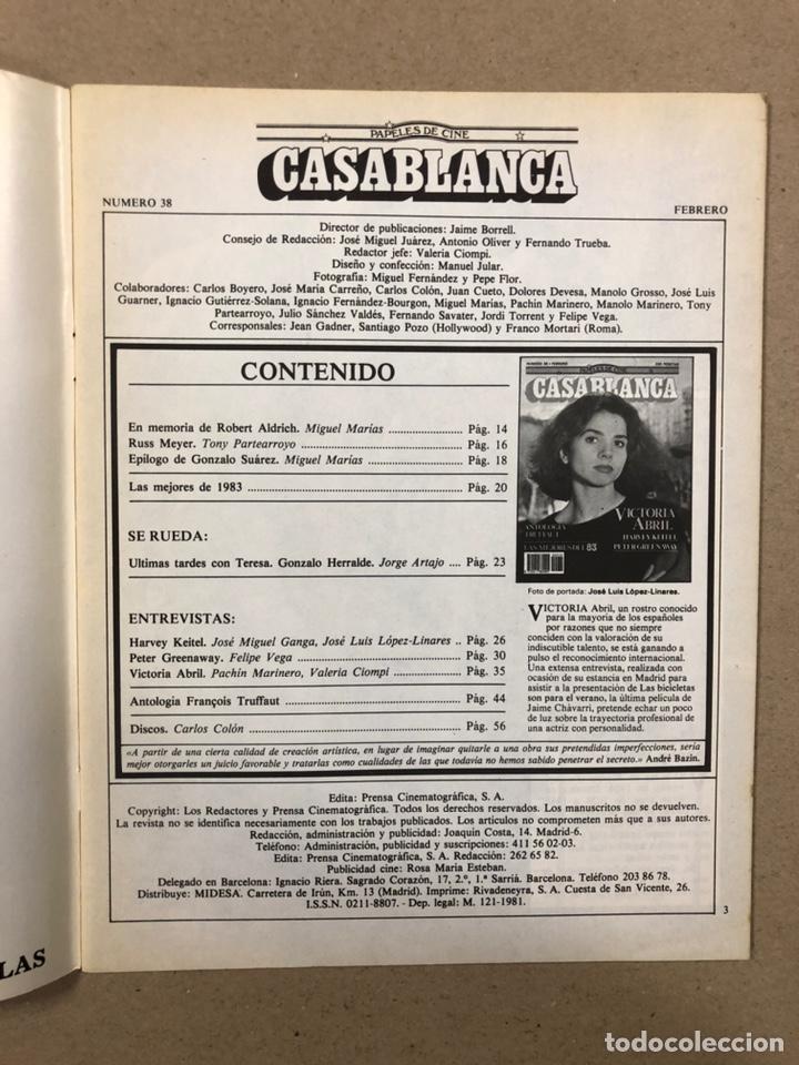 Cine: PAPELES DE CINE CASABLANCA N° 38 (1984). VICTORIA ABRIL, ANTOLOGÍA TRUFFAUT, HARVEY KEITEL,... - Foto 2 - 240500295