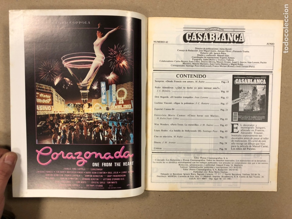 Cine: PAPELES DE CINE CASABLANCA N° 42 (1984). FESTIVAL CANNES '84, MARIO CAMUS, DIRK BOGARDE, VISCONTI,.. - Foto 2 - 240503520