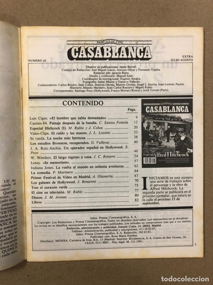 Cine: PAPELES DE CINE CASABLANCA N° 43 (1984). ESPECIAL ALFRED HITCHCOCK, CANNES '84,... - Foto 2 - 240504050