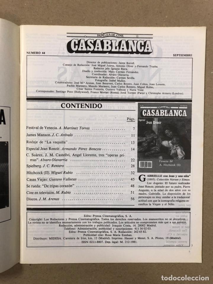 Cine: PAPELES DE CINE CASABLANCA N° 44 (1984). ESPECIAL ALFRED HITCHCOCK Y JEAN RENOIR, VENECIA '84,... - Foto 2 - 240504565