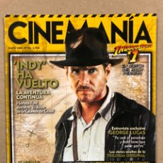 Cine: CINEMANIA N° 152 (2008). INDIANA JONES, GEORGE LUCAS, JOHN FORD,.... Lote 241948150