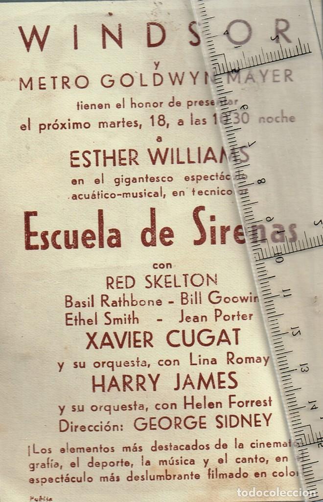 1948 CA. ESCUELA DE SIRENAS FOLLETO DE MANO CINE WINDSOR ESTHER WILLIAMS, RED SKELTON, XAVIER CUGAT (Cine - Reproducciones de carteles, folletos...)