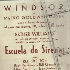 Cine: 1948 CA. ESCUELA DE SIRENAS FOLLETO DE MANO CINE WINDSOR ESTHER WILLIAMS, RED SKELTON, XAVIER CUGAT. Lote 242823340