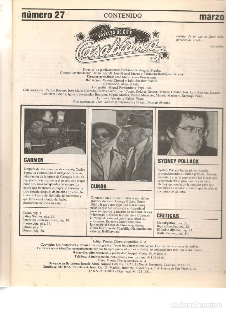 Cine: PAPELES DE CINE. CASABLANCA. FASCÍCULO Nº 27. GEORGE CUKOR. MARZO 1983 (ST/MG/B) - Foto 2 - 243013500