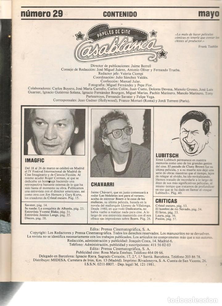 Cine: PAPELES DE CINE. CASABLANCA. FASCÍCULO Nº 29. EL OSCAR. E. LUBITSCH. MAYO 1983 (ST/MG/B) - Foto 2 - 243014155