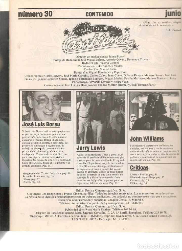Cine: PAPELES DE CINE. CASABLANCA. FASCÍCULO Nº 30. JERRY LEWIS, EXTREVISTA. JUNIO 1983 (ST/MG/B) - Foto 2 - 243014395