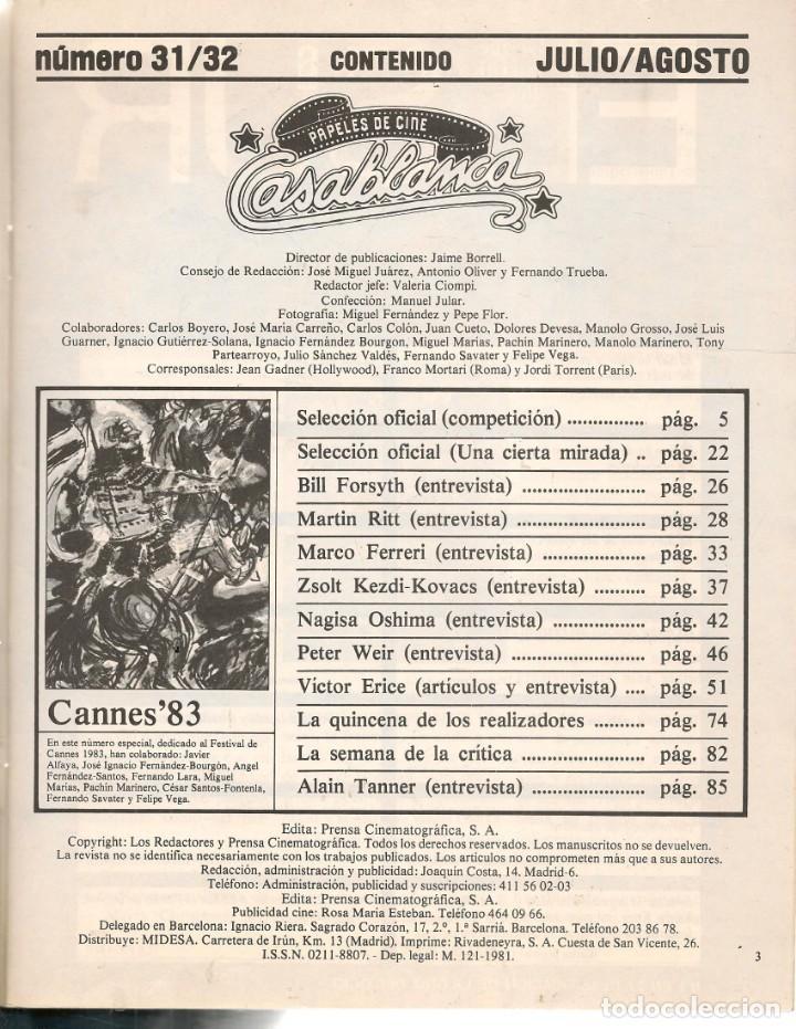 Cine: PAPELES DE CINE. CASABLANCA. FASCÍCULO Nº 31 / 32. TODO CANNES´83. JULIO-AGOSTO 1983 (ST/MG/B) - Foto 2 - 243014635