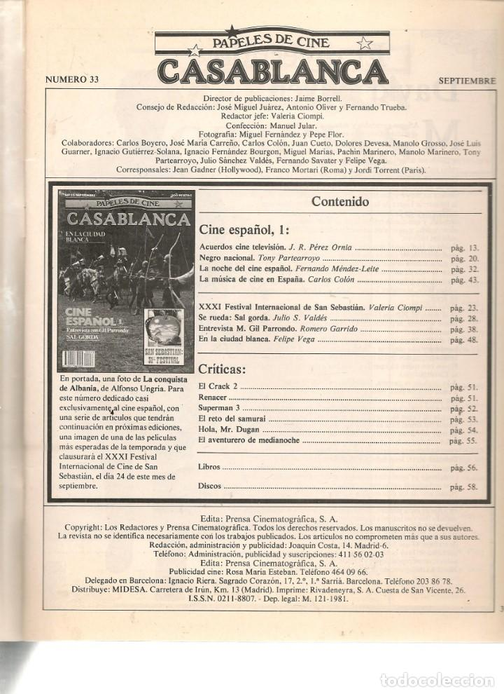 Cine: PAPELES DE CINE. CASABLANCA. FASCÍCULO Nº 33. CINE ESPAÑOL 1. SEPTIEMBRE 1983 (ST/MG/B) - Foto 2 - 243014915