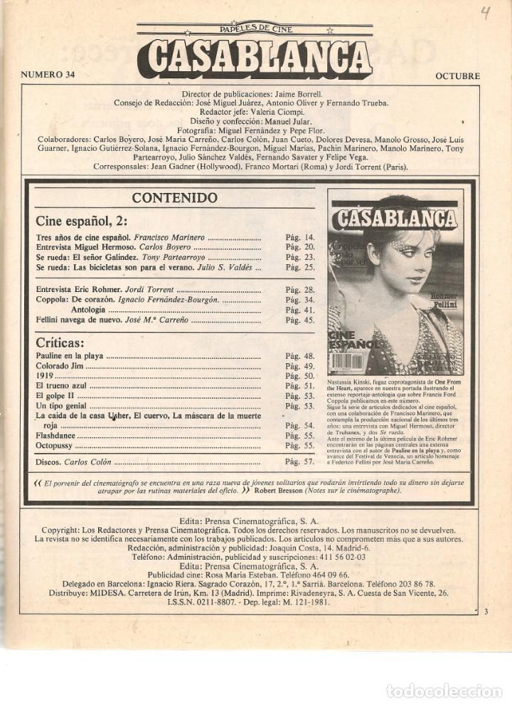 Cine: PAPELES DE CINE. CASABLANCA. FASCÍCULO Nº 34. CINE ESPAÑOL 2. OCTUBRE 1983 (ST/MG/B) - Foto 2 - 243015410