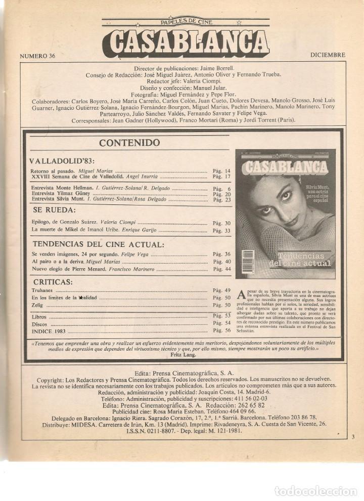 Cine: PAPELES DE CINE. CASABLANCA. FASCÍCULO Nº 36. SILVIA MUNT. DICIEMBRE 1983 (ST/MG/B) - Foto 2 - 243016175