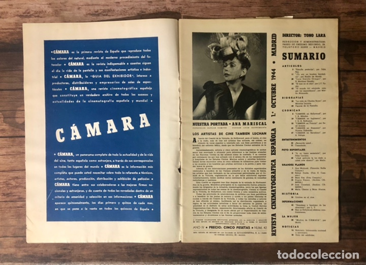 Cine: REVISTA CAMARA, NUMERO 42, OCTUBRE DE 1944, ( TALLERES RIVADENEYRA ) - Foto 2 - 243103380