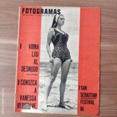 Cinema: FOTOGRAMAS: NUMERO 922 - 11 JUNIO 1966 / LUCIANA PALUZZI. Lote 243973385