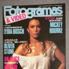 Cinema: FOTOGRAMAS N.º 1739 1988 LYDIA BOSCH, MICKEY ROURKE, OLIVER STONE, ANJELICA HUSTON, SCORSESE. Lote 244565675