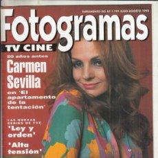 Cine: SUPLEMENTO REVISTA FOTOGRAMAS Nº 1799 AÑO 1993. 20 AÑOS ANTES CARMEN SEVILLA. LEY DE ORDEN.. Lote 244710695