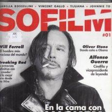 Cine: REVISTA SOFILM Nº 1 AÑO 2013. MICKEY ROURKE.WILL FERRELL. BREAKING BAD. ALFONSO GUERRA. O. STONE.. Lote 244717325