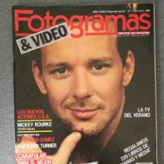 Cine: REVISTA FOTOGRAMAS N.º 1720 1986 MICKEY ROURKE, FERNÁN GÓMEZ, KATHLEEN TURNER, KIM BASINGER. Lote 244836700