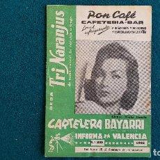 Cine: CARTELERA DEL ESPECTACULO BAYARRI Nº 303 (1962) VALENCIA - RW. Lote 245352390