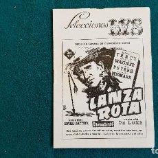 Cine: CARTELERA DEL ESPECTACULO SELECCIONES LYS PRESENTA LANZA ROTA (1955) Y OTROS CINES ... VALENCIA - RW. Lote 245352815