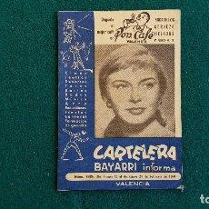 Cine: CARTELERA DEL ESPECTACULO BAYARRI Nº 165 (1960) CINES VALENCIA - RW. Lote 245353300