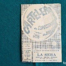 Cine: CARTELERA DE ESPECTACULOS Nº 72 (1964) CINES VALENCIA - RW. Lote 245362305