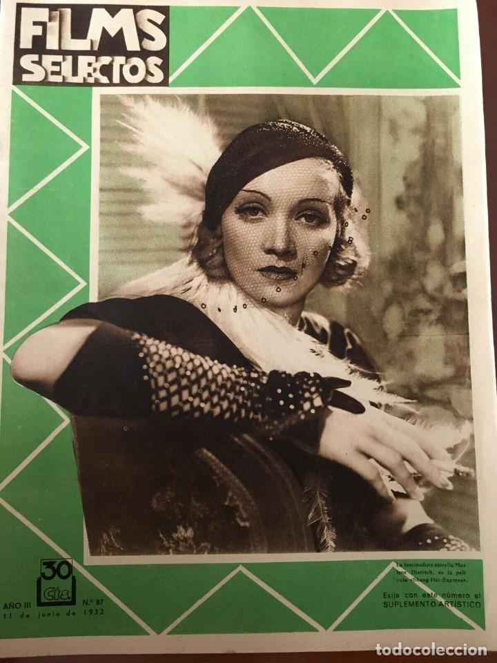 REVISTA FILM SELECTOS 1932 JOAN CRAWFORD MARLENE DIETRICH TOM MOORE CARMEN BARNES (Cine - Revistas - Films selectos)