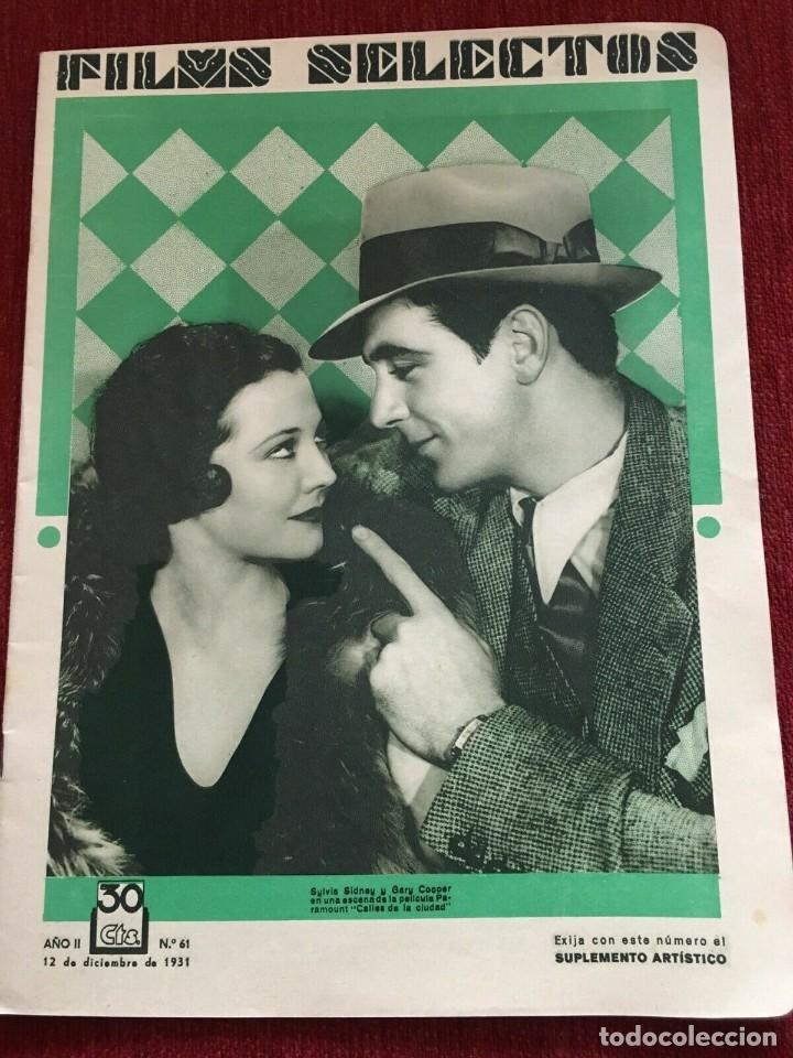 REVISTA FILM SELECTOS SYLVIA SIDNEY GARY COOPER JOAN CRAWFORD GRETA GRANSTEDT JARMILA NOVOTNA (Cine - Revistas - Films selectos)