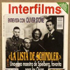 Cine: INTERFILMS N° 66 (1994). OLIVER STONE, LA LISTA DE SCHINDLER (SPIELBERG), TRUEBA, JOSEPH COTTEN. Lote 245610665