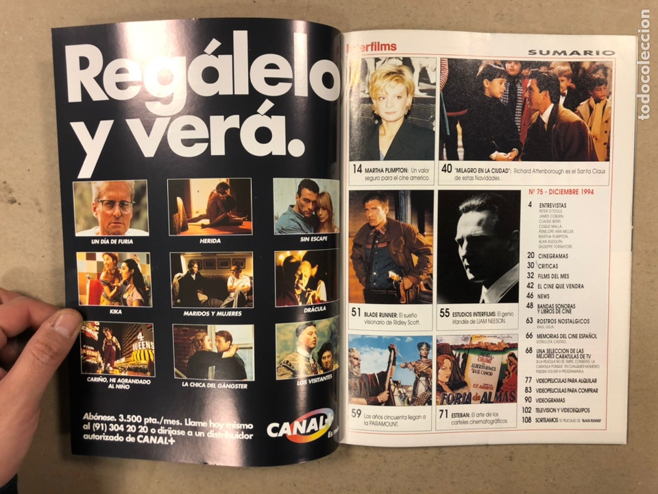Cine: INTERFILMS N° 75 (1994). LIAM NESSON, PETER O'TOOLE, JAMES CORBUM, COQUE MALLA, BLADE RUNNER - Foto 2 - 245614310