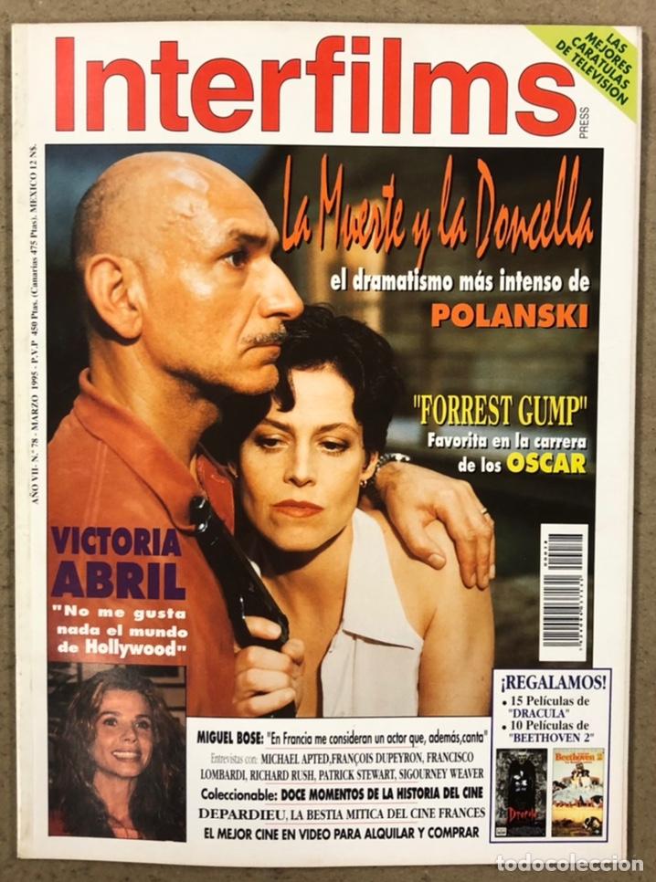 INTERFILMS N° 78 (1995). VICTORIA ABRIL, MIGUEL BOSÉ, POLANSKI, MICHAEL APTED, FRANCISCO LOMBARDI (Cine - Revistas - Interfilms)