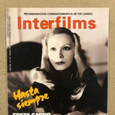 Cine: INTERFILMS N° 21 (1990). GRETA GARBO, SILVANA MANGANO, LA COMEDIA AMERICANA (PRESTON STURGES),.... Lote 245631765